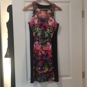 Black and Floral Aqua dress